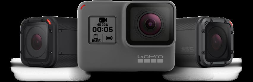 Fra venstre GoPro Hero 4 Session, GoPro Hero 5 Black, GoPro Hero 5 Session<br /></noscript>(Bildet er hentet fra GoPro.com)